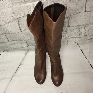 Jesica Simpson Brown Leather wedge boot